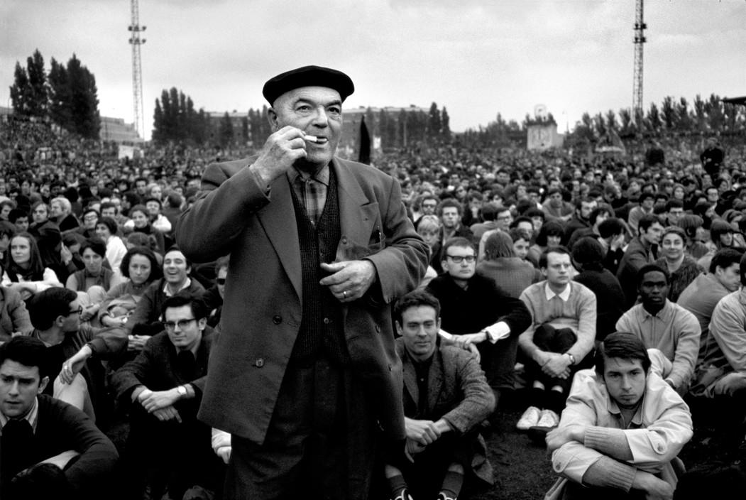 Студенты и рабочие на митинге, Красный май 1968
